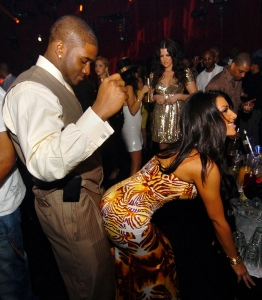 "Saints RB Reggie Bush, playing ""The Saints"", and whore-about-town (and by town I mean 'cock') Kim Kardashian, playing ""The Jets"" present a visual metaphor for these teams' Week 4 contest."